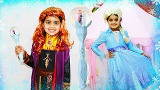 Katy Pretend Play with Disney Frozen 2 Princess Costumes and Dress up like Elsa & Anna