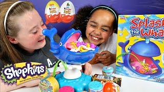Splashy The Whale Toy Challenge Game - Shopkins - Chocolate Kinder Surprise Eggs Opening Prizes