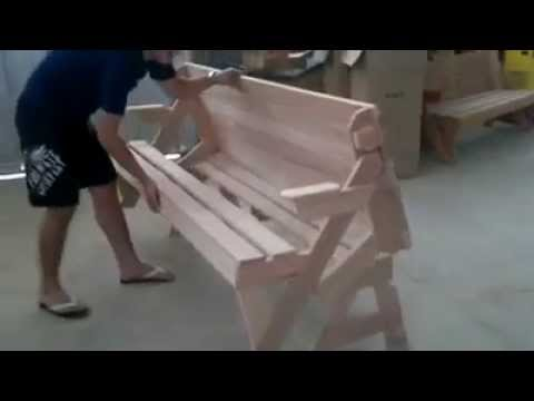 bench into picnic table! - youtube