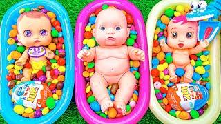 Very Satisfying Video l Mixing Rainbow Skittles Yummy Candy in Three Bathtub & Magic Slime ASMR