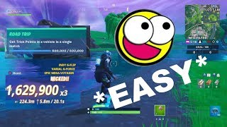 *EASY* Get 500,000 Trick Points in a Vehicle! Fortnite SX Challenge Tutorial