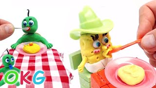 baby spongebob feeding days superheroes in real baby life play doh stop motion videos