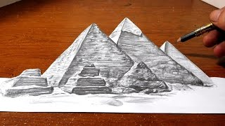 Drawing the Great Pyramids of Egypt - Anamorphic Illusion