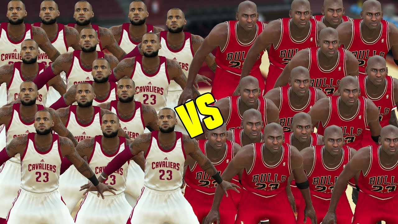 cb99725d85d 15 LEBRON JAMES VS 15 MICHAEL JORDANS! WHO IS THE G.O.A.T? NBA 2K17  GAMEPLAY!