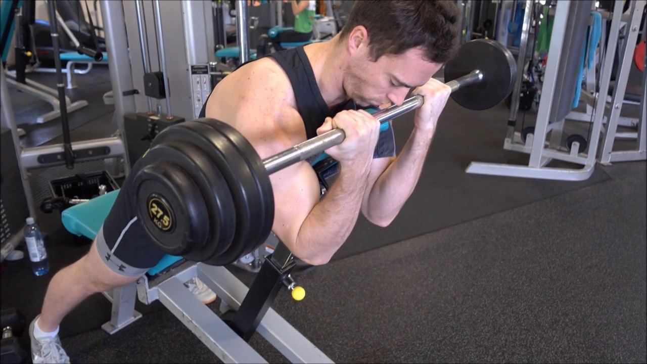 Spider Curls Incline Bench Part - 22: How To: Barbell Curls Lying Against An Incline Bench