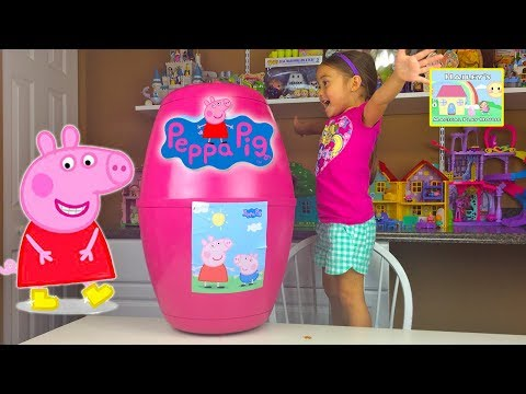 Thumbnail: GIANT PEPPA PIG SURPRISE TOYS RED CAR Worlds Biggest Surprise Egg Peppa Pig CamperVan Toy Unboxing