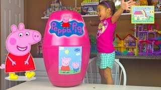 Giant Peppa Pig Toys Egg Surprise Opening w/ Red Car & Camper Van!