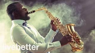 現代,溫柔,開朗和現代爵士音樂與現代爵士樂薩克斯管工作