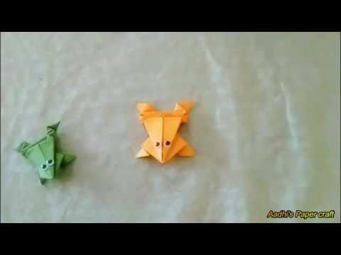 How To Make a Paper Jumping Frog - EASY Origami   Easy Paper Craft