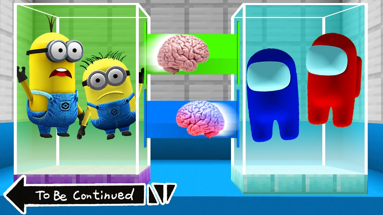 Download BRAIN EXCHANGE MINIONS vs AMONG US in MINECRAFT ! WHAT'S INSIDE MINIONS - Animation Gameplay