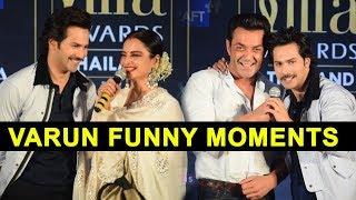 Varun Dhawan Funny And Cute Moment With Bobby Deol And Rekha   IIFA Weekend Awards Mumbai