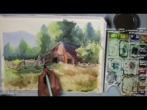 watercolor-farm-house-landscape-painting-step-by-step