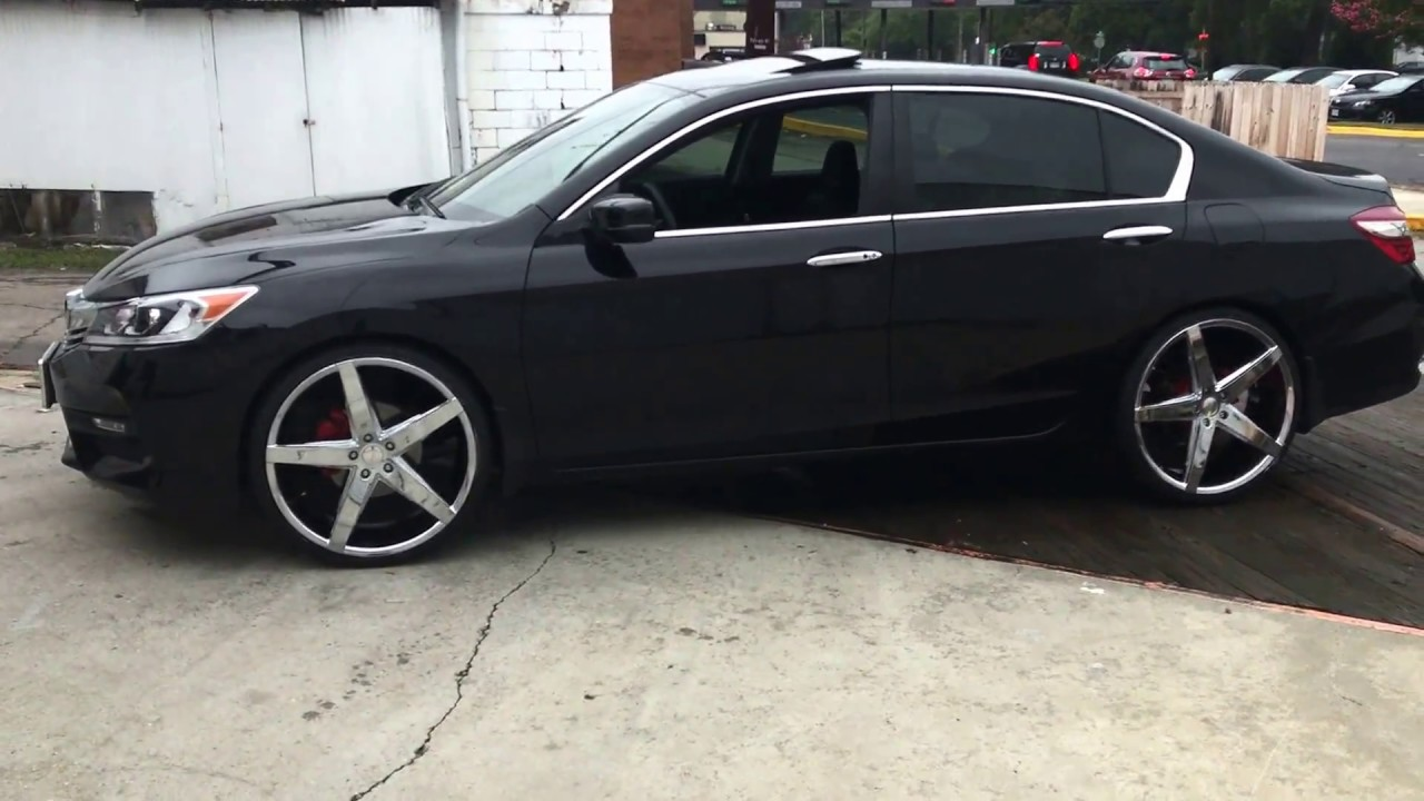 2015 black honda accord sitting on 22 rosso affinity chrome wheels with 235 35 22 velozza tires. Black Bedroom Furniture Sets. Home Design Ideas