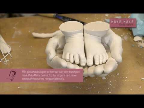 3D baby fodaftryk i alginat og gips
