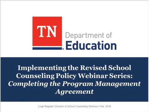 School Counseling: Completing the Program Management Agreement