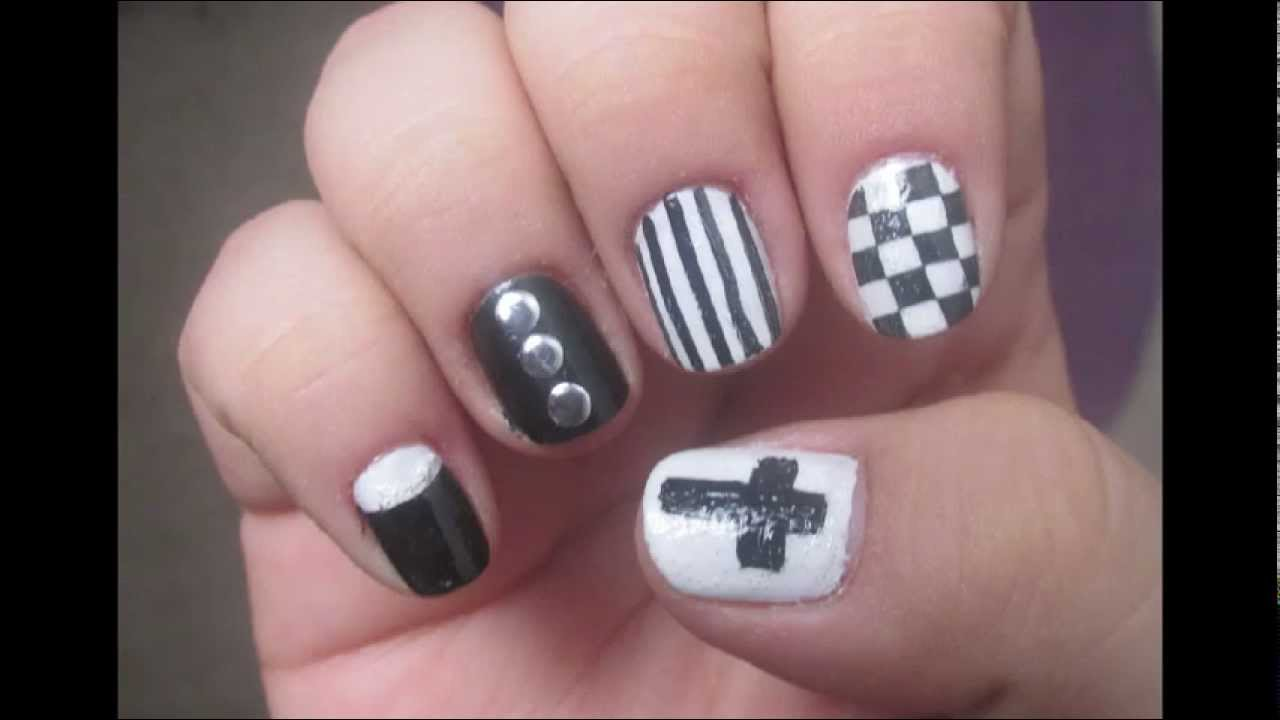 hipster nail art black and white manicure - YouTube