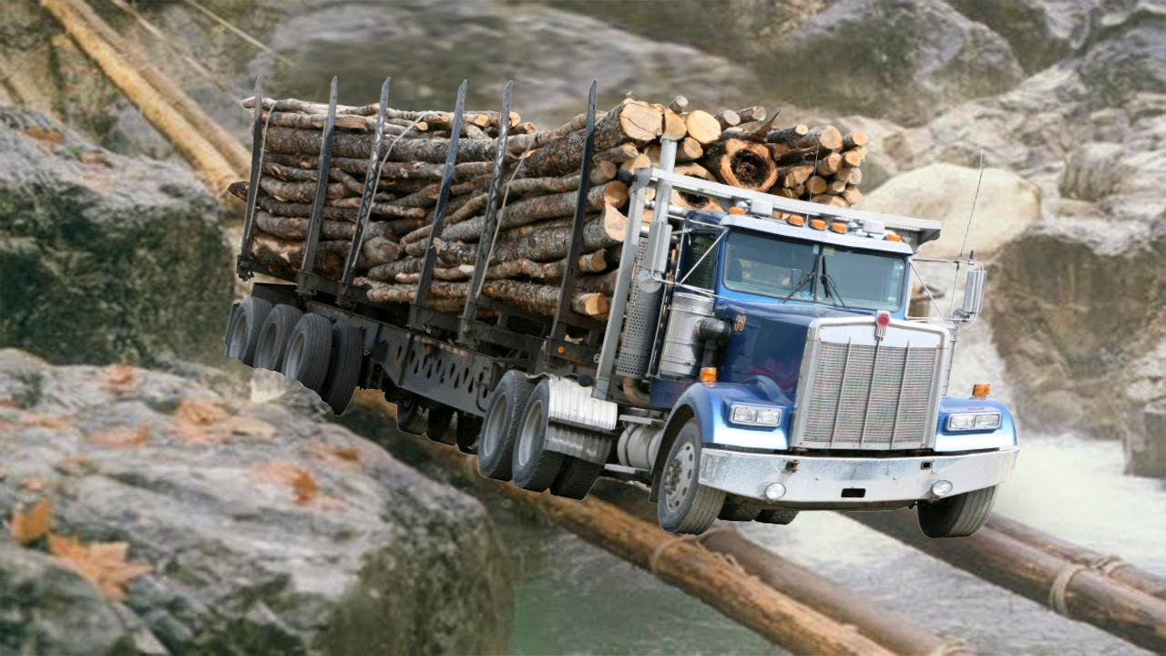 Truck Crossing The Dangerous Wooden Bridge-Amazing Trucks ...