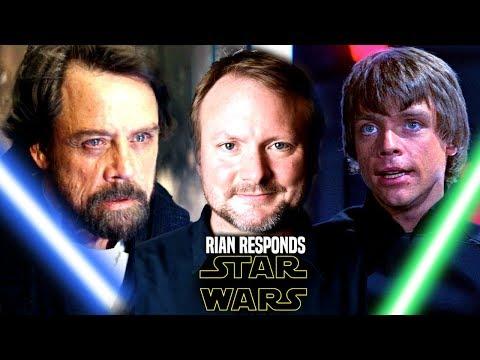 Star Wars! Rian Johnson Defends Luke! Says He Didn't Change In The Last Jedi