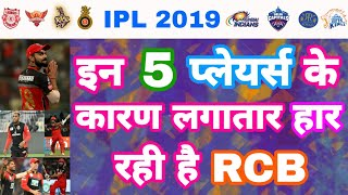 IPL 2019 List Of 5 Players Behind The Consecutive Lose Of RCB In Vivo IPL | My Cricket Production