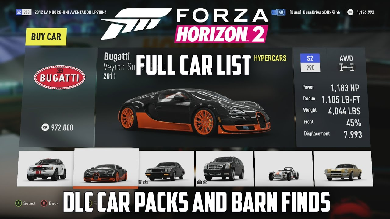 forza list 2 horizon car