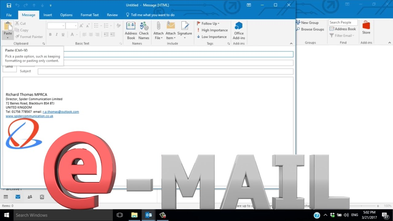 how to add signature in outlook mail 2016
