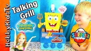 NEW! Talking SpongeBob Krabby Patty Grill Toy! Kinder Egg Surprise Nickelodeon Frozen HobbyKidsTV