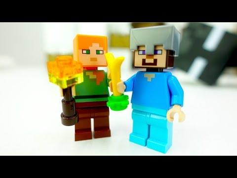 Видео для детей с игрушками. Конструктор и игры майнкрафт (MineCraft): Стив спасает морковку