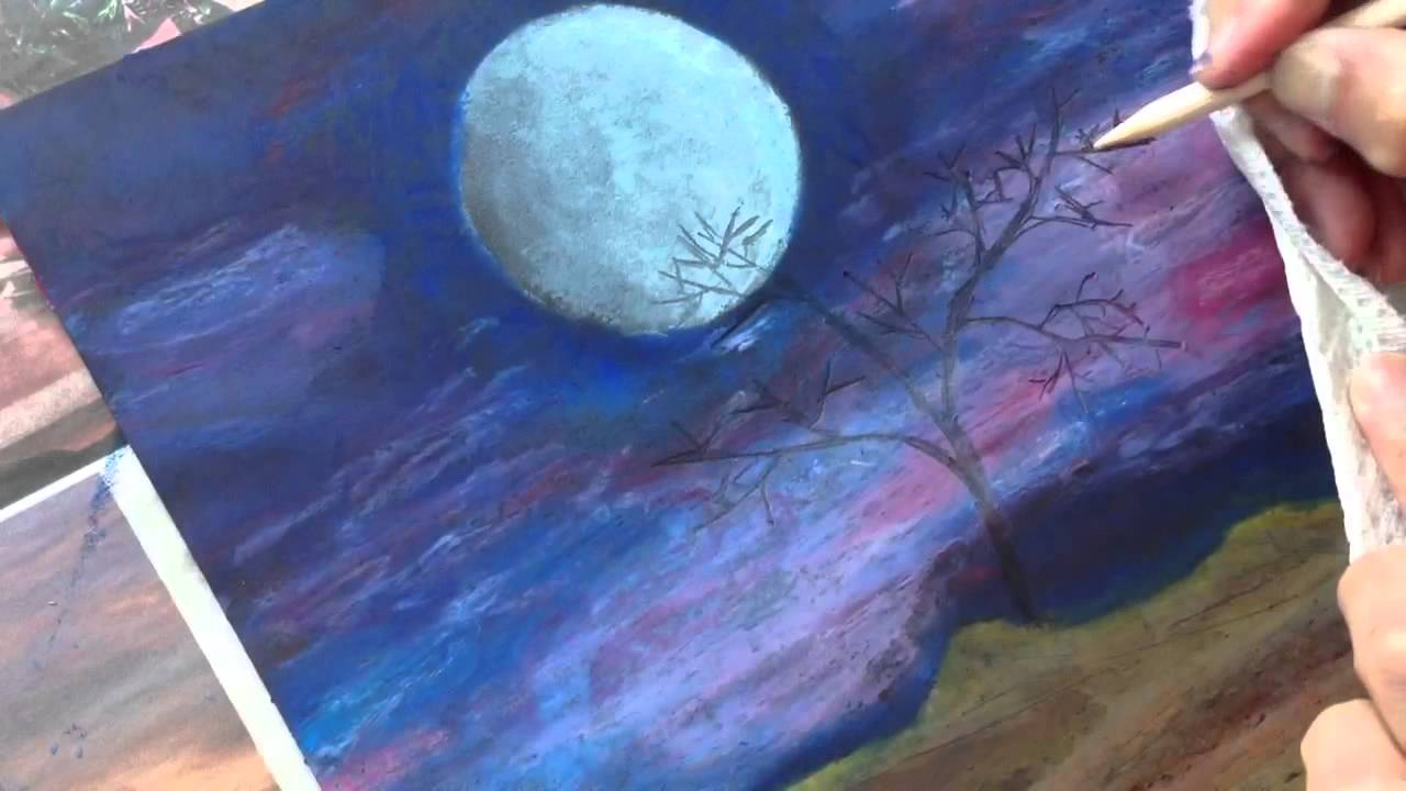 Classplan moon night oil pastel on black card stock inadvertent asmr art painting tutorial youtube