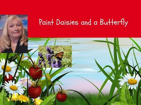 How to Paint Daisies and a Butterfly Beautiful landscape Acrylic Painting tutorial Lesson 4 finished