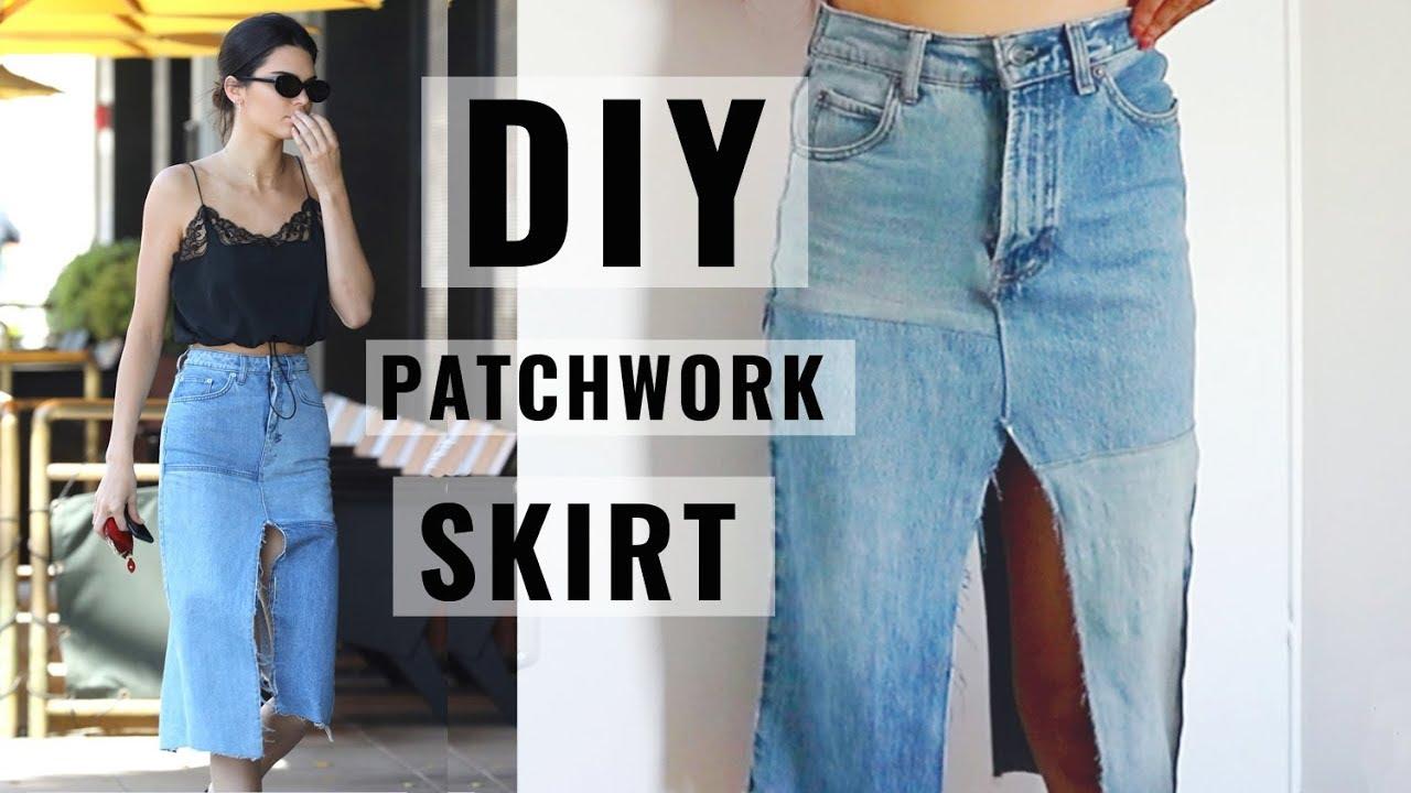 DIY | Kendall Jenner Inspired Patchwork Denim Skirt - YouTube