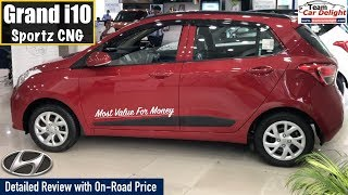 Grand i10 2019 Sportz Model with Company Fitted CNG Detailed Review with On Road Price