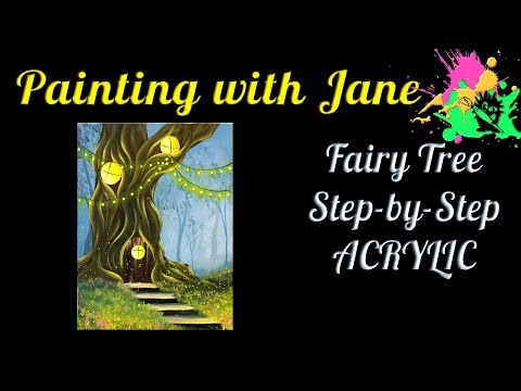 Fairy Tree Step by Step Acrylic Painting on Canvas for Beginners