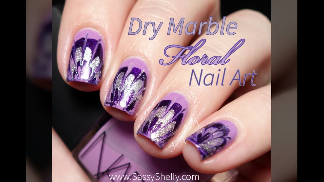 Floral dry marble drag marble nail art tutorial youtube solutioingenieria Image collections