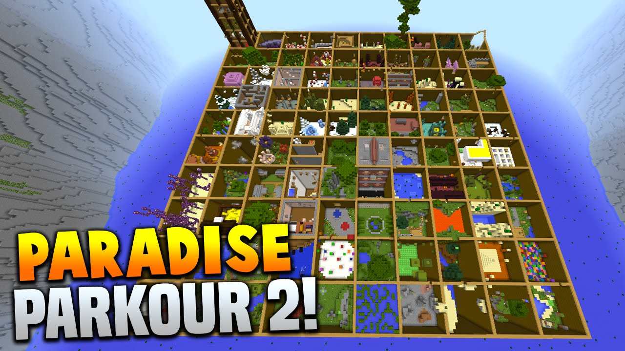 Minecraft PARADISE PARKOUR Over Stages Hour Long Parkour - Mapas para minecraft 1 10 2 de parkour