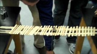 Charlie Scott, William Chism, and Royce Reeves-Darby built a bridge using 100 Popsicle sticks that spanned 55 cm. It held 27