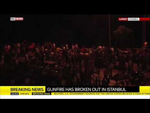 Protesters Duck As Gunfire Breaks Out In Istanbul