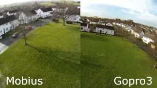 Quadcopter Mobius vs Gopro Hero3 Side by Side comparison Aerial Video 350QX