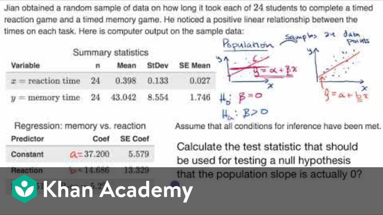 Calculating t statistic for slope of regression line (video