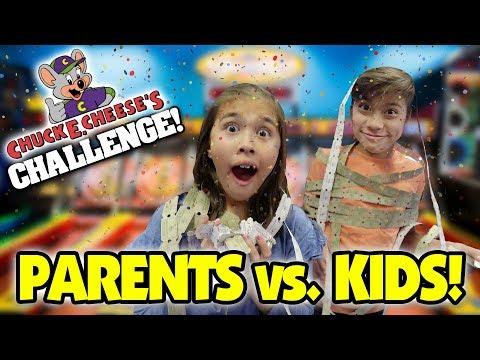 CHUCK E. CHEESE ARCADE CHALLENGE!!! Parents VS. Kids!