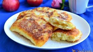 Жареные творожные пирожки с яблоками