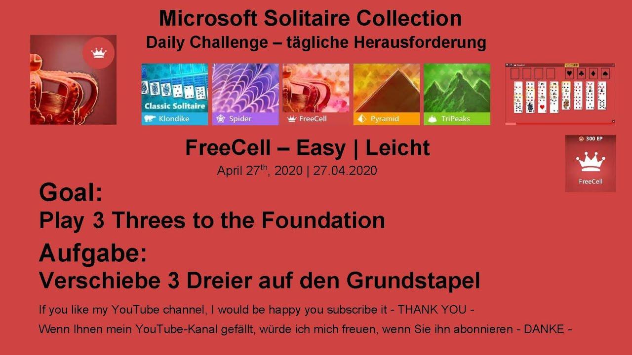 Microsoft Solitaire Collection Lösung Tägliche Herausforderung