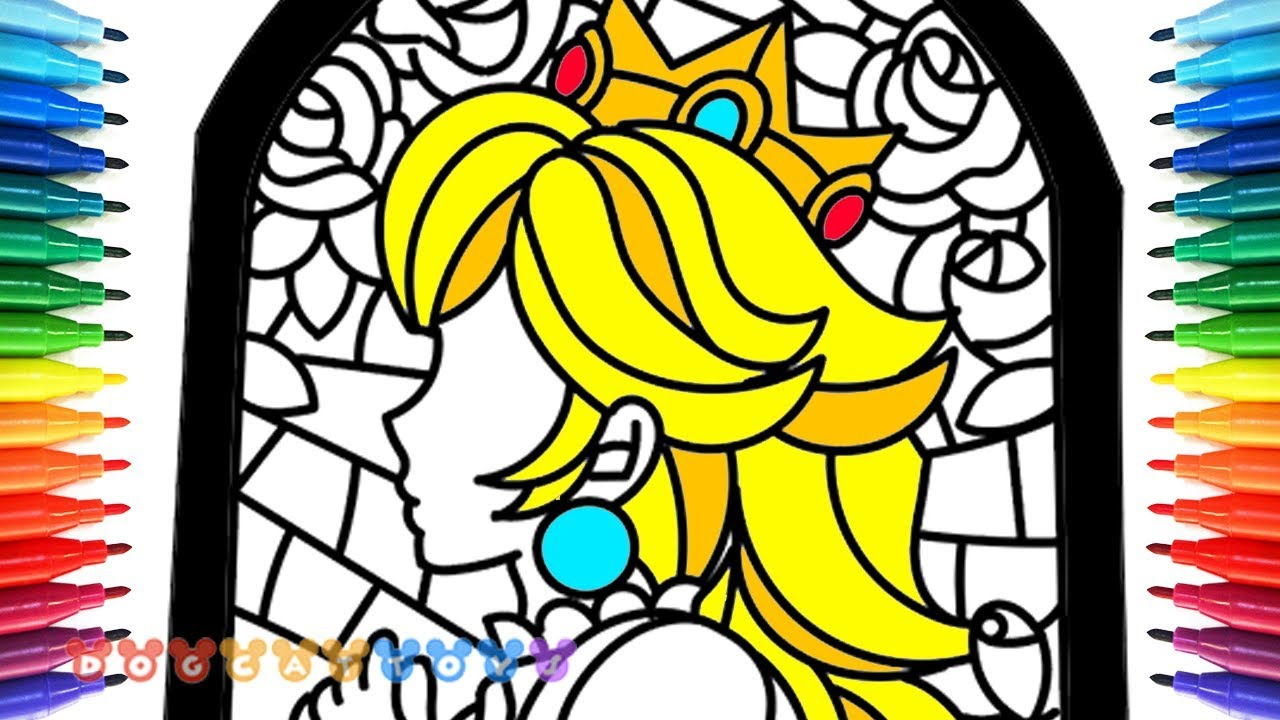 How To Draw Mario Odyssey Stained Glass Of Princess Peach 75 Drawing Coloring Pages For Kids