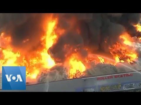 Fire Engulfs California Roller Rink