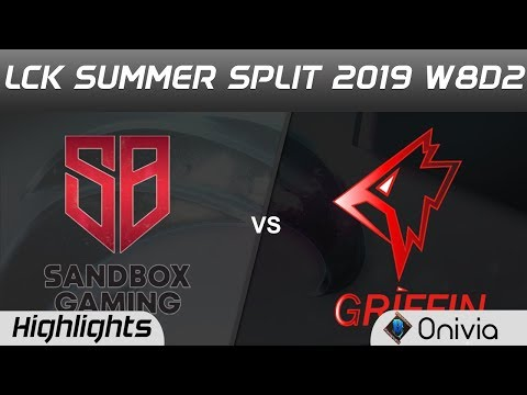SB vs GRF Highlights Game 1 LCK Summer 2019 W8D2 SANDBOX Gaming vs Griffin Highlights by Onivia