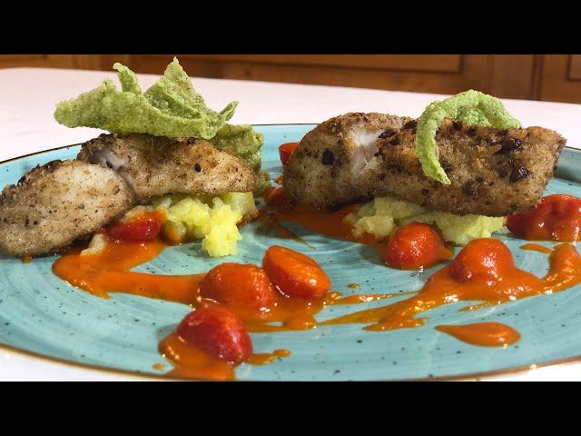 Filetto di Rombo in crosta di Olive e capperi in salsa mediterranea