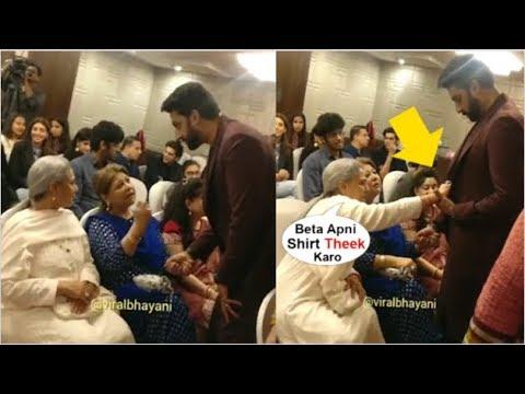 jaya-bachchan's-cute-video-fixing-son-abhishek-bachchan's-shirt-in-front-of-media-at-an-event