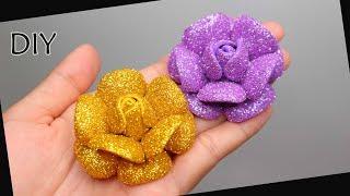 DIY - How to make glitter Foam Flower Eva foam | Foamiran | Cara membuat bunga spon glitter