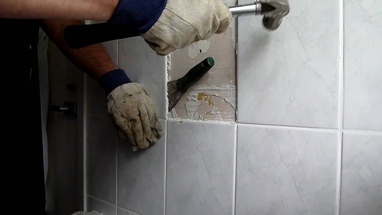 removing bathroom tiles - YouTube