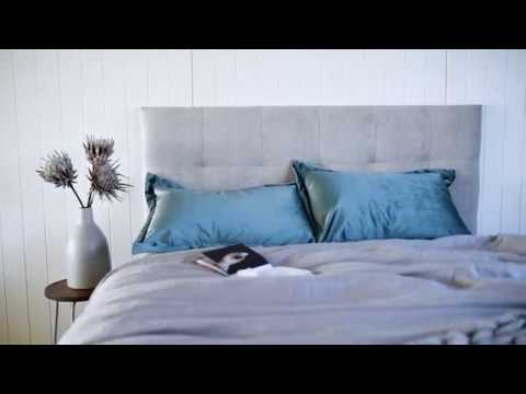 Grey Upholstered Bedhead Stockholm by Create Estate