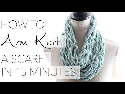 How To Arm Knit Single Wrap Infinity Scarf In Minutes With Simply Maggie